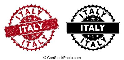 Scratched Italy Rounded Red Stamp Seal