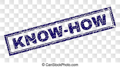 KNOW-HOW stamp seal watermark with rubber print style and double framed rectangle shape. Stamp is placed on a transparent background. Blue vector rubber print of KNOW-HOW text with dirty texture.