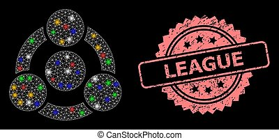 Scratched League Stamp and Network Collaboration with Glitter Dots