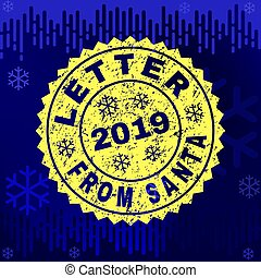 Scratched LETTER FROM SANTA Stamp Seal on Winter Background