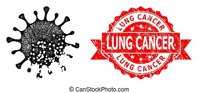 Wire frame damaged microbe icon, and Lung Cancer grunge ribbon seal print. Red stamp seal contains Lung Cancer text inside ribbon.Geometric wire carcass 2D net based on damaged microbe icon,