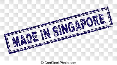 Scratched MADE IN SINGAPORE Rectangle Stamp