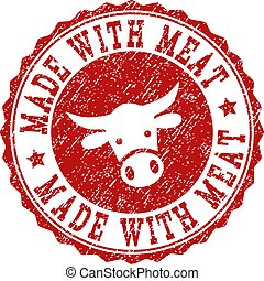 Scratched MADE WITH MEAT Stamp Seal