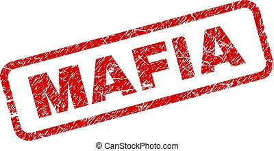 Scratched MAFIA Rounded Rectangle Stamp