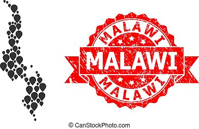 Scratched Malawi Seal and Mark Mosaic Map of Malawi - ...