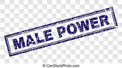 Scratched MALE POWER Rectangle Stamp - MALE POWER stamp seal...
