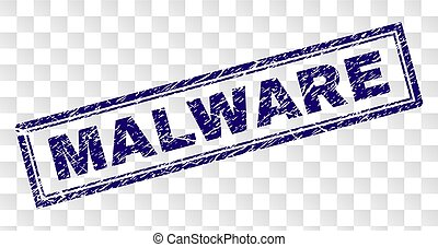 Scratched MALWARE Rectangle Stamp - MALWARE stamp seal print...