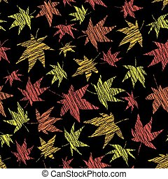 Scratched maple leaves. Seamless pattern. Fall bg. -...