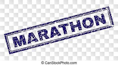 Scratched MARATHON Rectangle Stamp