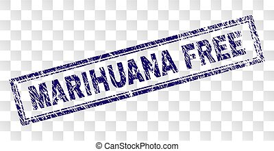 Scratched MARIHUANA FREE Rectangle Stamp