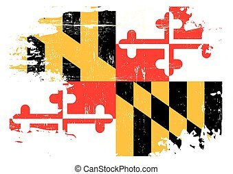 Scratched Maryland Flag - A flag of Maryland with a grunge...