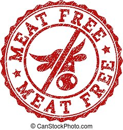 Scratched MEAT FREE Stamp Seal