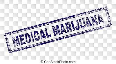 Scratched MEDICAL MARIJUANA Rectangle Stamp