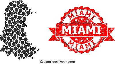 Scratched Miami Seal and Mark Mosaic Map of Palencia ...