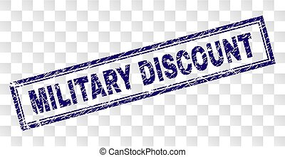Scratched MILITARY DISCOUNT Rectangle Stamp