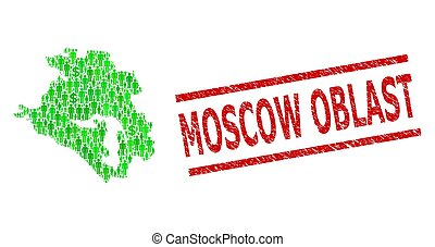 Scratched Moscow Oblast Stamp Imitation and Green People and...
