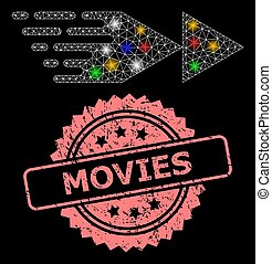 Scratched Movies Stamp and Mesh Rewind Forward with Lightspots