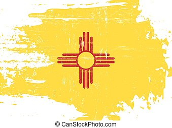 Scratched New Mexico Flag - A flag of New Mexico with a...