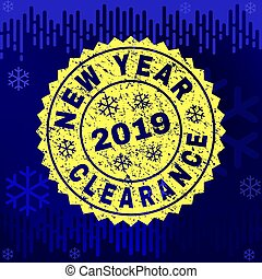 Scratched NEW YEAR CLEARANCE Stamp Seal on Winter Background