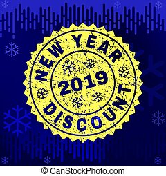 Scratched NEW YEAR DISCOUNT Stamp Seal on Winter Background