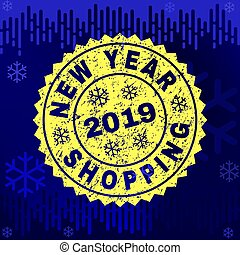 Scratched NEW YEAR SHOPPING Stamp Seal on Winter Background