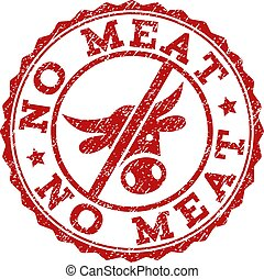 Scratched NO MEAT Stamp Seal