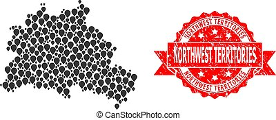 Scratched Northwest Territories Stamp and Pointer Mosaic Map...