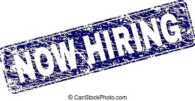 Scratched NOW HIRING Framed Rounded Rectangle Stamp