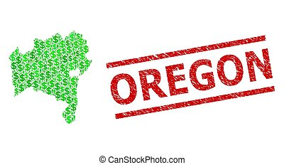 Scratched Oregon Stamp Seal and Green Men and Dollar Mosaic ...