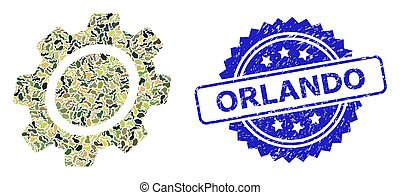 Scratched Orlando Stamp Seal and Military Camouflage Composition of Gear
