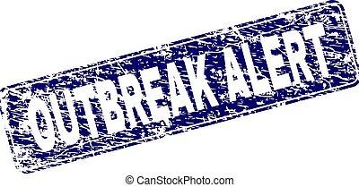 Scratched OUTBREAK ALERT Framed Rounded Rectangle Stamp