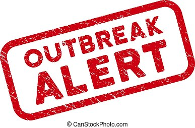 Scratched Outbreak Alert Watermark with Rounded Rectangle Frame