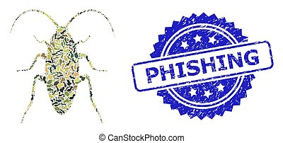 Scratched Phishing Stamp and Military Camouflage Collage of Cockroach