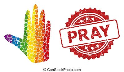Scratched Pray Seal and Rainbow Hand Mosaic - Hand collage ...