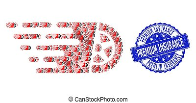 Scratched Premium Insurance Round Stamp and Fractal Tire Wheel Icon Mosaic