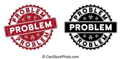 Scratched Problem Round Red Stamp