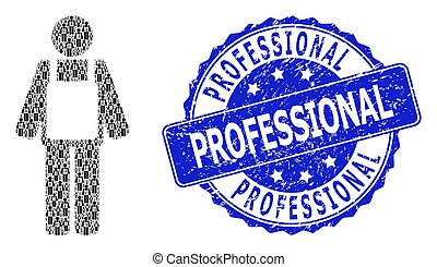 Scratched Professional Round Seal Stamp and Fractal Worker Person Icon Mosaic