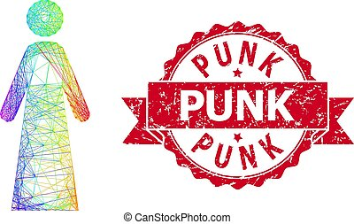 Scratched Punk Stamp Seal and Multicolored Net Woman