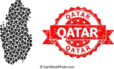 Scratched Qatar Seal and Marker Mosaic Map of Qatar