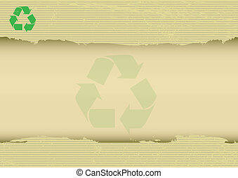 A recycling logo on atorn kraft horizontal posterfor your message.