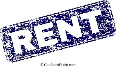 Scratched RENT Framed Rounded Rectangle Stamp