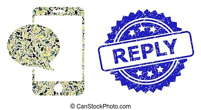 Scratched Reply Stamp and Military Camouflage Collage of Smartphone Message