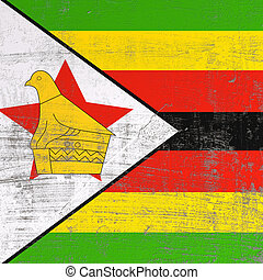 Scratched Republic of Zimbabwe flag