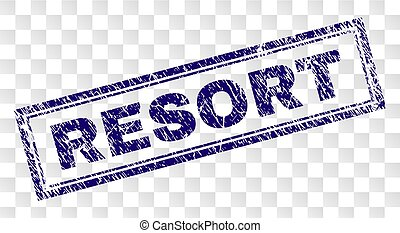 Scratched RESORT Rectangle Stamp