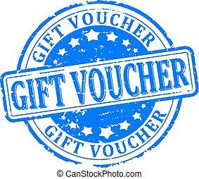 gift voucher - Scratched round blue stamped - gift voucher -...