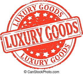 Scratched round red stamp with the word - luxury goods - vector