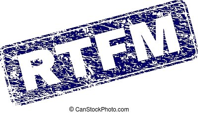 Scratched RTFM Framed Rounded Rectangle Stamp