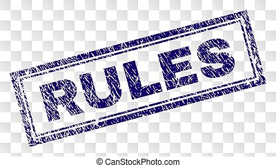 Scratched RULES Rectangle Stamp