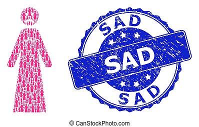 Scratched Sad Round Stamp and Recursive Sad Woman Icon Mosaic