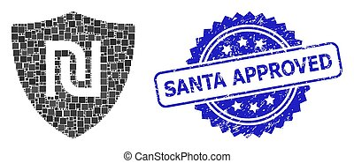 Scratched Santa Approved Stamp and Square Dot Collage Shekel Guard
